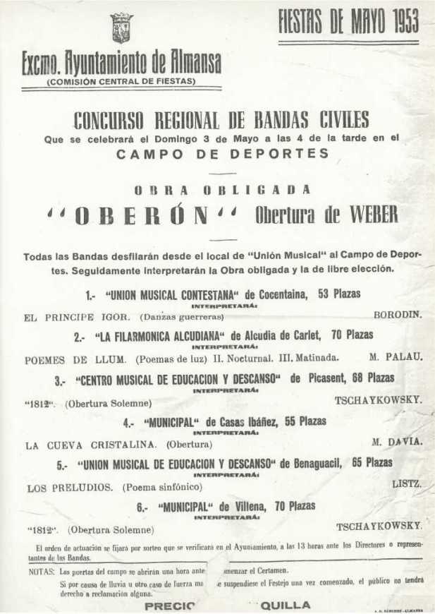 Cartel Certamen Almansa 1953